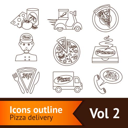 Pizza Icons Set Outline vector
