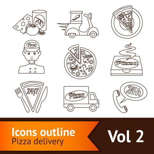 Icone della pizza Set Outline vettore