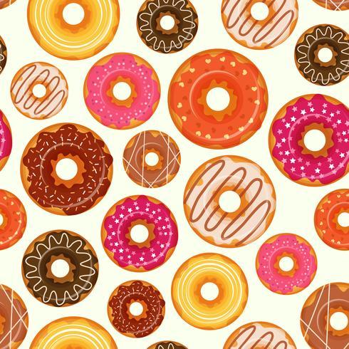 Donut seamless pattern vector