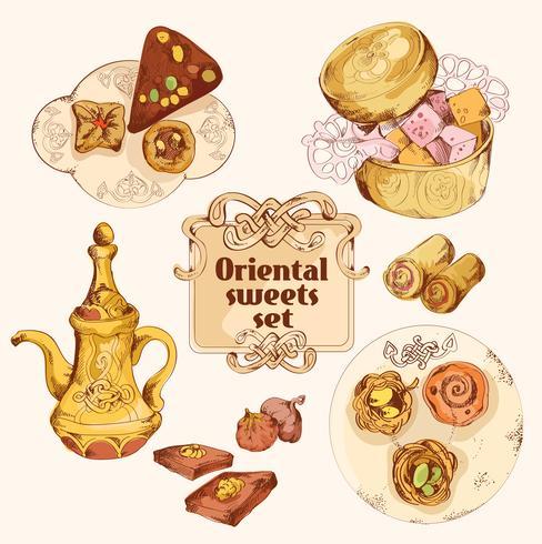 Conjunto de colores dulces orientales.