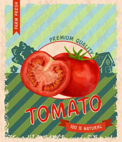 Cartel retro de tomate vector
