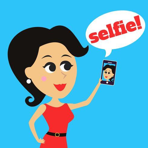 Tjejen gör selfie