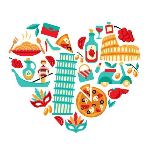 Coração de ícones de Itália vetor