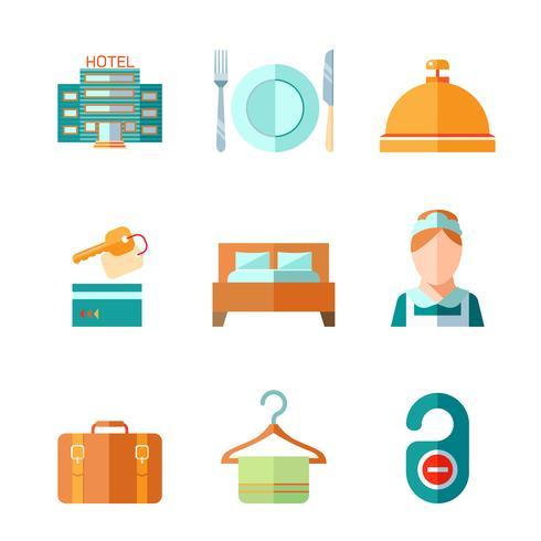 Conjunto de iconos de hotel vector