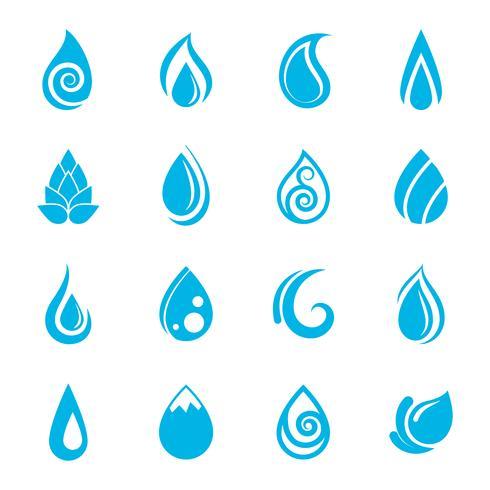 Iconos de gotas de agua azul vector