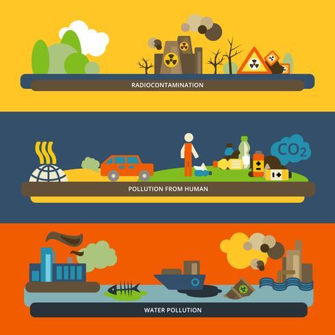 Contaminación Banners Planos vector