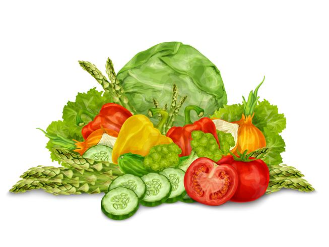 Vegetables mix on white vector