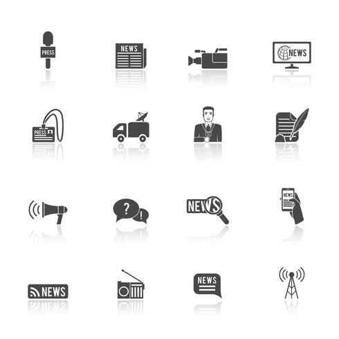 Conjunto de iconos de periodista periodista vector