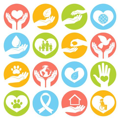 Charity and donation icons white vector