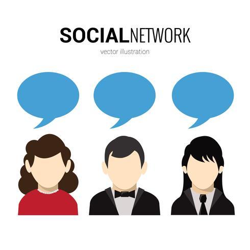 Red social de burbujas de discurso vector