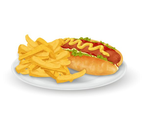 Papas fritas de hot dog vector