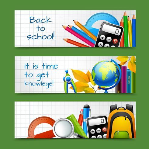 Banners de papel escolar vetor