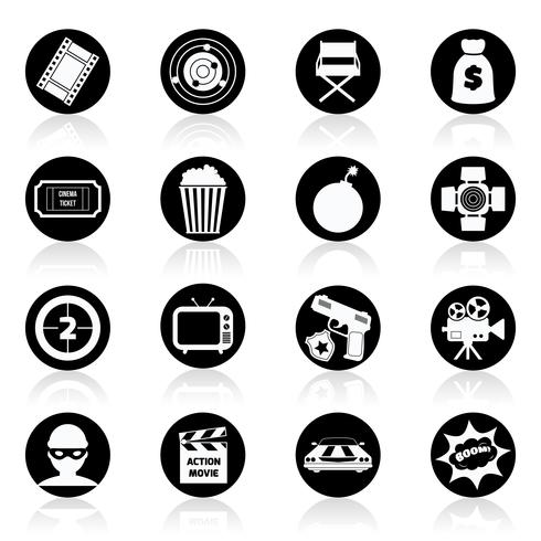 Action movie black and white vector