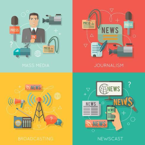 Composition d'affaires plat concept médias de masse vecteur