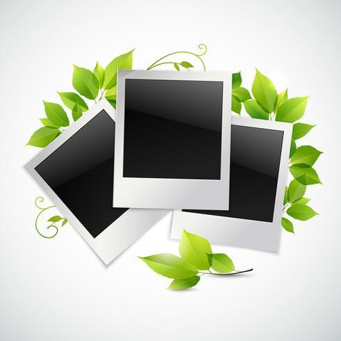 Fotolijsten met groene bladeren vector