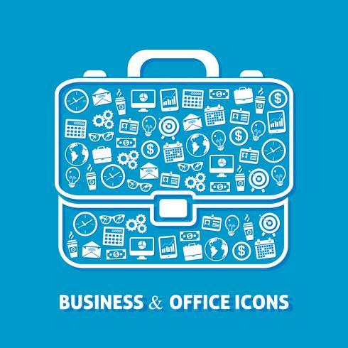 Ícones de escritório maleta