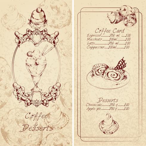 Desserts menu template vector