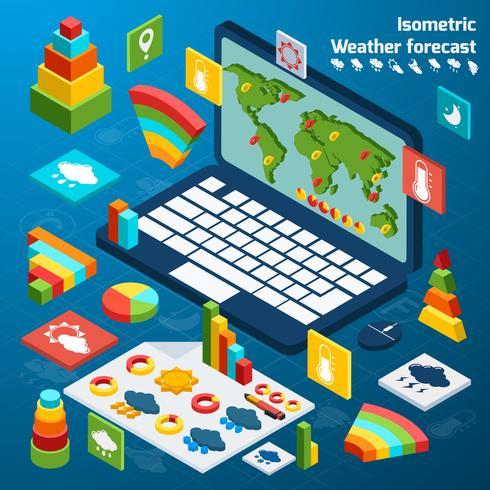 Iconos isométricos del clima vector
