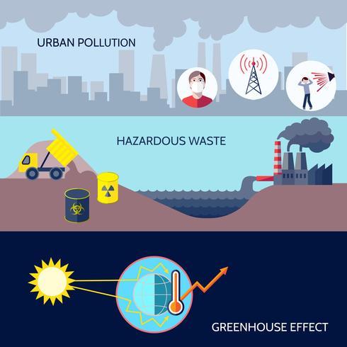Ensemble plat d'icônes de pollution
