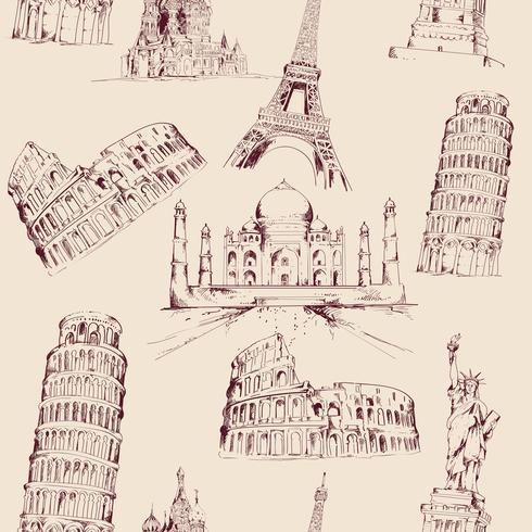 Wereld landmark naadloze patroon vector