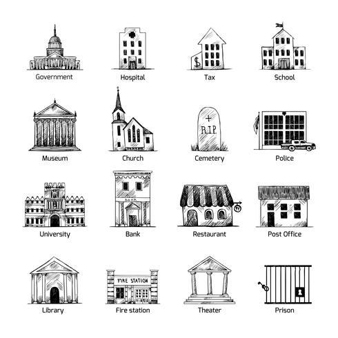 Conjunto de iconos de edificio de gobierno vector