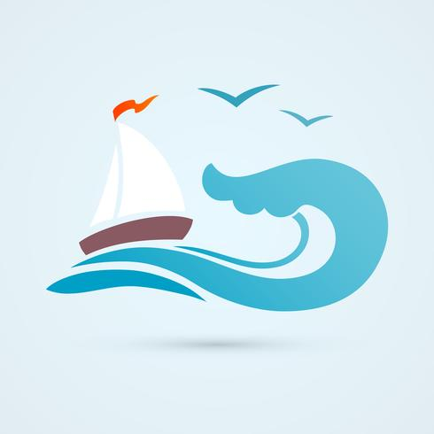 Sail ship wave icon