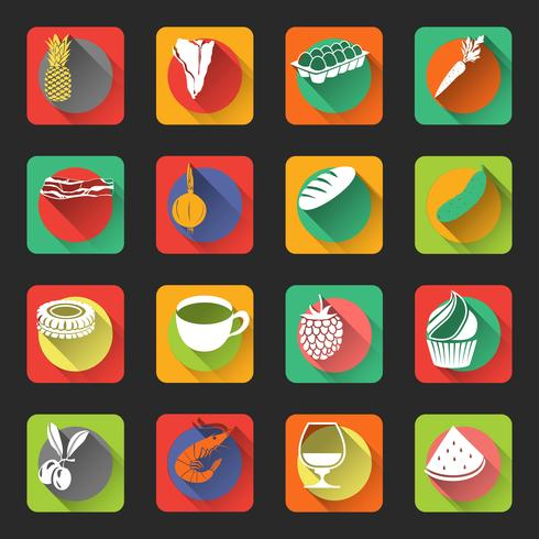 Comida plana ícones