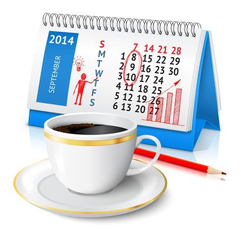 Esboço de negócios no calendário