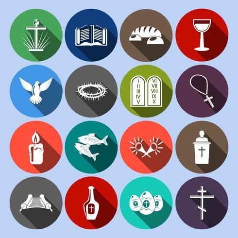Conjunto de ícones do cristianismo plana