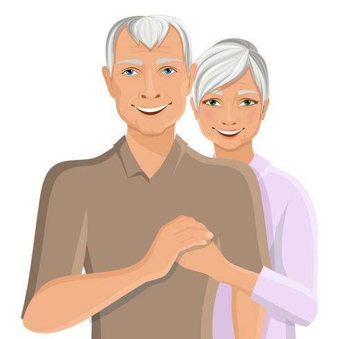 Senior couple portrait vector