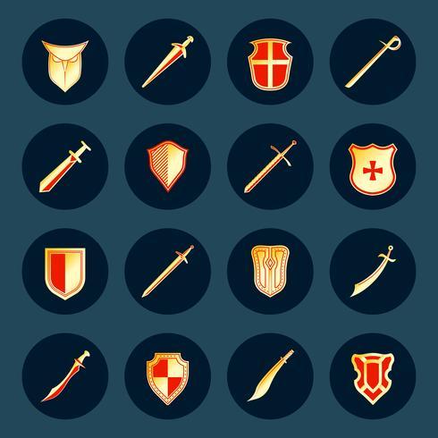 Ensemble d'icônes épée et bouclier