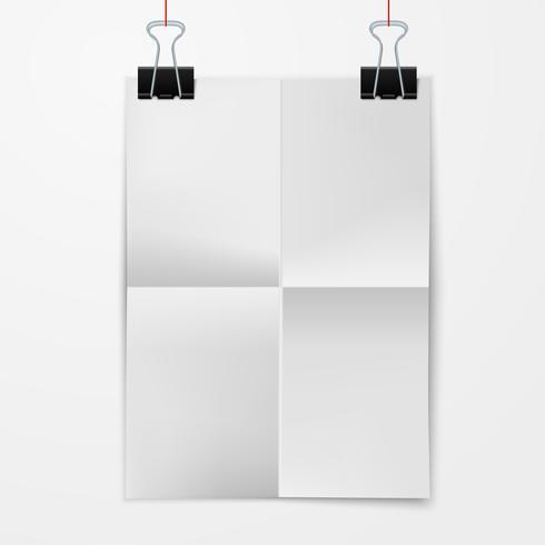 Vikat pappersark med bindemedelsklämma vektor