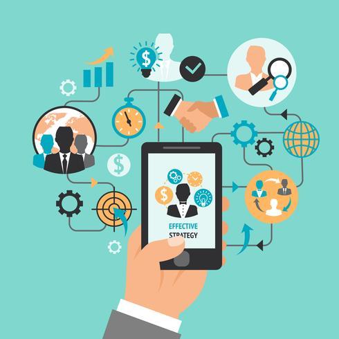 Mano de negocios con smartphone vector