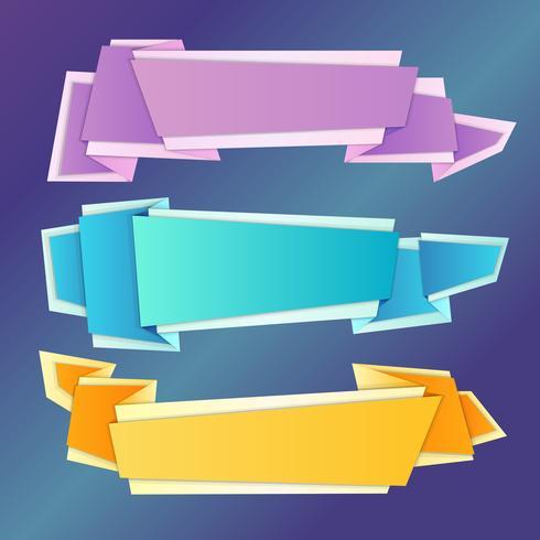 Conjunto de banners de origami.
