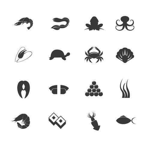 skaldjur ikoner uppsättning