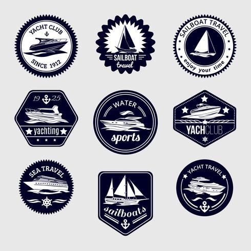 Sailboats travel labels icons set vector