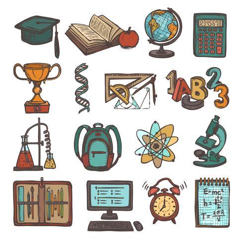 School onderwijs schets iconen