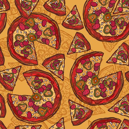 Pizza schets naadloze patroon vector