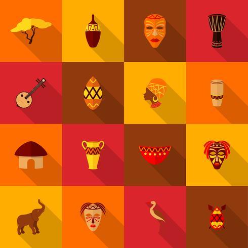 Afrika ikoner sätta platt