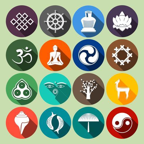 Buddhism Ikoner Set Flat vektor