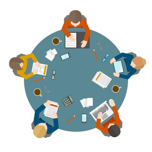 Reunión de negocios en la vista superior vector