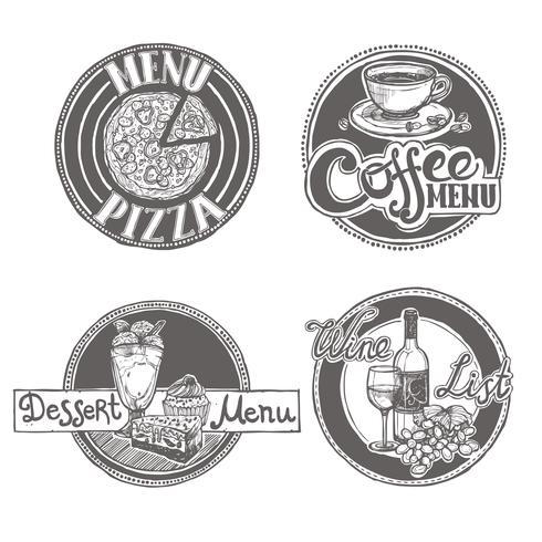 Conjunto de etiquetas de menú de esbozo de restaurante vector