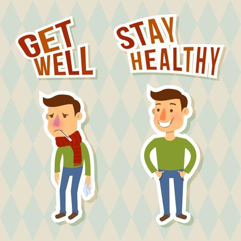 Personnages malades et en bonne santé vecteur