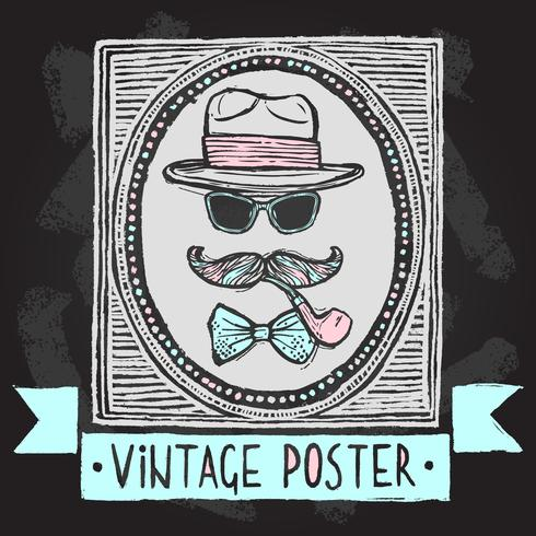 Vintage hats and glasses poster vector