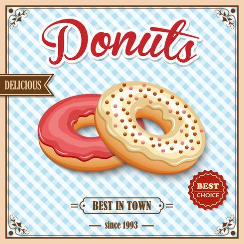Donut retro affisch vektor