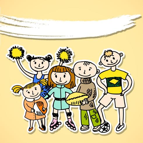 Sport jouant carton enfants