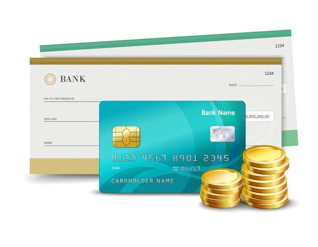 Cheque tarjeta de credito y monedas