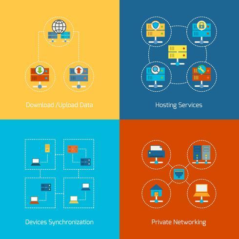 Hosting iconos planos vector