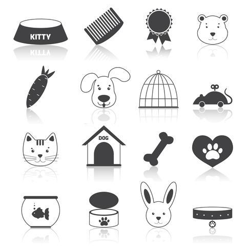 Huisdieren pictogrammen instellen zwart