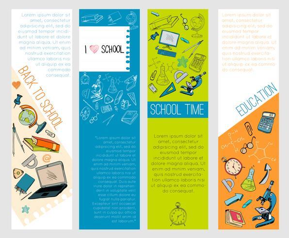 Bannières infographiques de l'éducation scolaire icônes